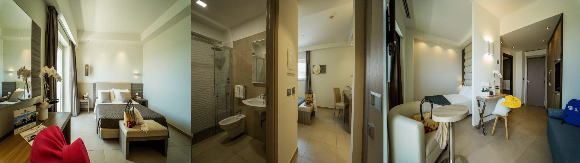 view of hotel- bedroom, bathroom, living area image