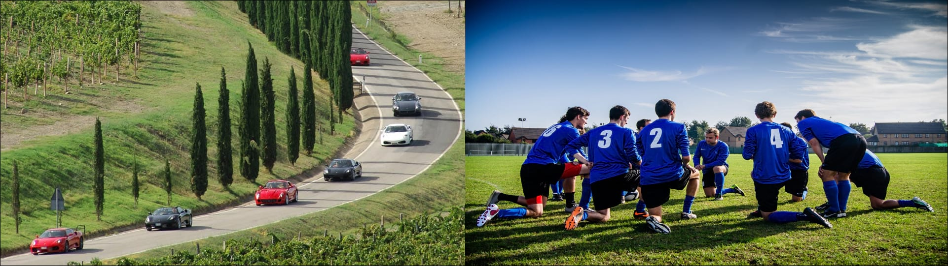 Sports cars racing image, Soccer team huddle image
