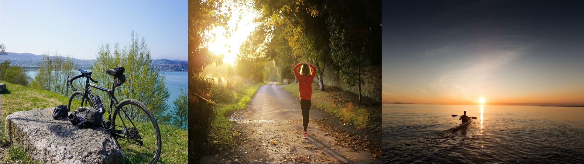 Biking, hiking and rowing outdoor sport activities image