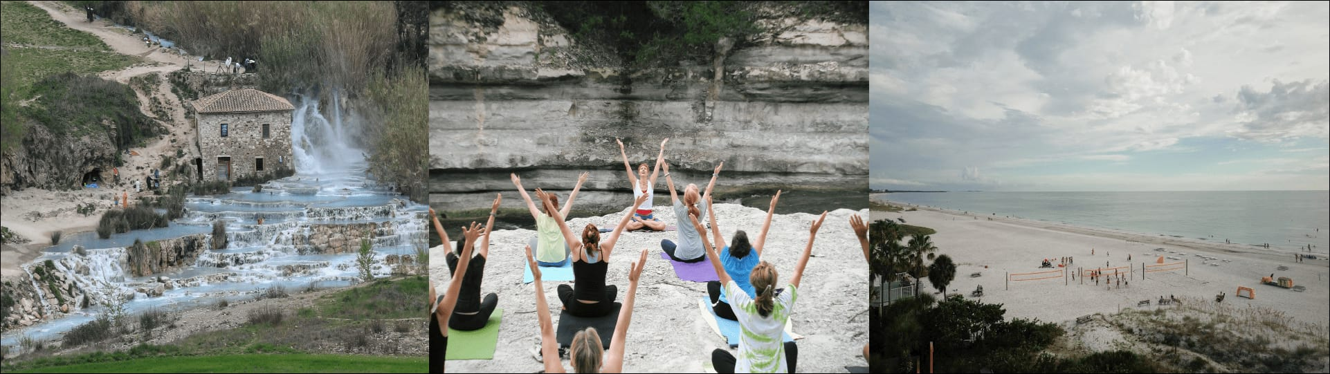 Waterfall, outdoor yoga and beach activities image